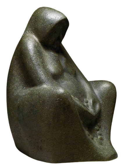 Mujer sentada, rezando